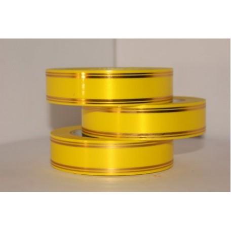 RUG.A378 Лента с золотой полосой Классика (полосы по краю) 3см х 50ярд цв.желтый
