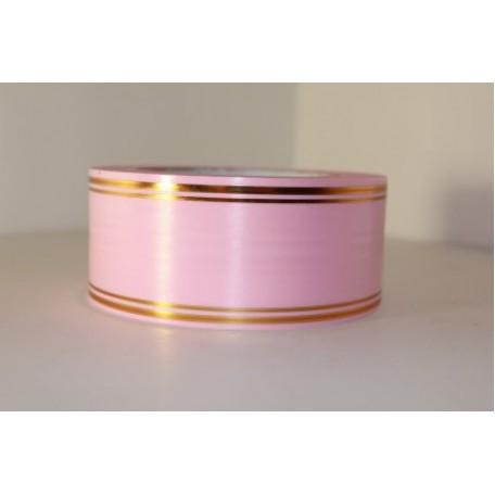 RUG.A537 Лента с золотой полосой 5см х 50ярд цв.розовый