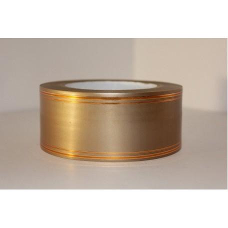 RUG.A540 Лента с золотой полосой 5см х 50ярд цв.бронза