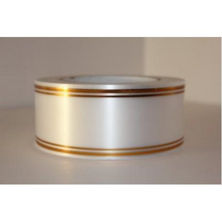 RUG.A541 Лента с золотой полосой 5см х 50ярд цв.белый