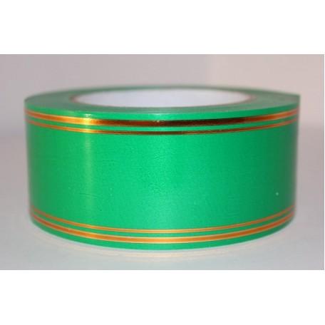 RUG.A542 Лента с золотой полосой 5см х 50ярд цв.зеленый