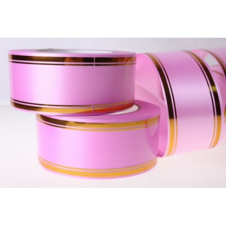 RUG.A546 Лента с золотой полосой 5см х 50ярд цв.ярко-розовый