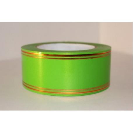 RUG.A549 Лента с золотой полосой 5см х 50ярд цв.салатовый