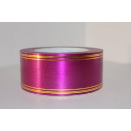 RUG.A560 Лента с золотой полосой 5см х 50ярд цв.вишневый
