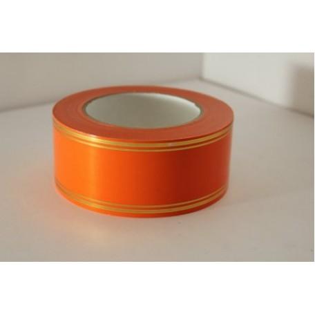 RUG.A561 Лента с золотой полосой 5см х 50ярд цв.оранжевый