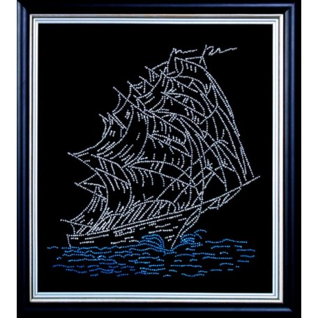 Набор для вышивания бисером арт.МК- Б009 'Парусник' 30х26 см