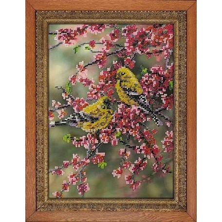 Набор для вышивания бисером 'МЕГАРУК' арт.004 Весенняя сакура 26х18,5 см