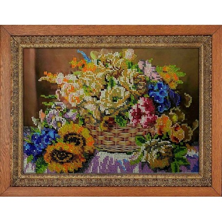 Набор для вышивания бисером 'МЕГАРУК' арт.007 Цветочный бриз 18,5х26 см