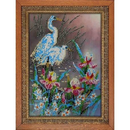 Набор для вышивания бисером 'МЕГАРУК' арт.020 Журавли 26х19 см