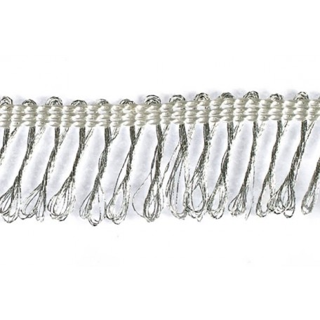 Бахрома арт.11069 шир.20 мм цв.серебро уп.18.28м