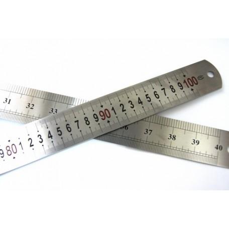 Линейка КЛ.24786 100 см/40 дюйм х 4 см металл, двухсторонняя