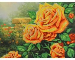 Набор для вышивания Габардин+бисер 'МП Студия' арт БГ-232 'Жёлтые розы' 23х28 см