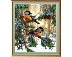 Набор для вышивания Габардин+бисер 'МП Студия' арт БГ-233 'Птички в лесу' 28х23 см