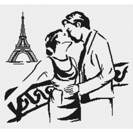 Набор для вышивания 'МП Студия' арт.НВ-160 'Поцелуй в Париже (графика)' 35х40 см