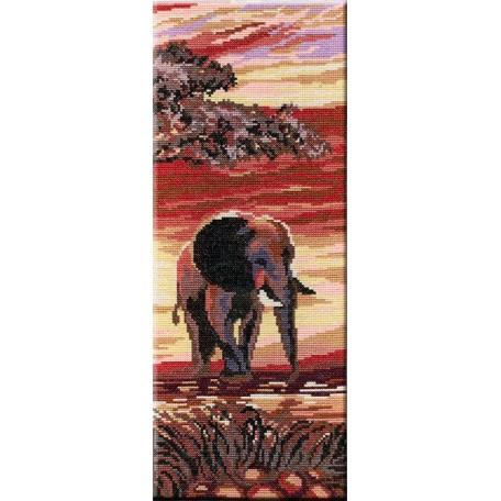 Набор для вышивания 'МП Студия' арт.НВ-196 'Триптих 'Слоны' 3 часть' 38х15 см