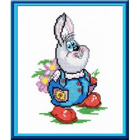 Набор для вышивания 'МП Студия' арт.НВ-197 'Заяц с цветами' 20х16 см