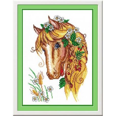 Набор для вышивания 'МП Студия' арт.НВ-198 'Лошадка-кокетка' 32х22 см