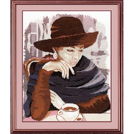 Набор для вышивания 'МП Студия' арт.НВ-200 'Девушка в кафе' 35х28 см