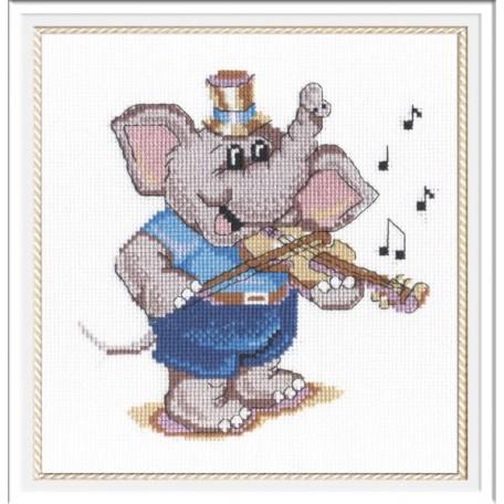 Набор для вышивания 'МП Студия' арт.НВ-208 'Слоник-скрипач' 20х20 см