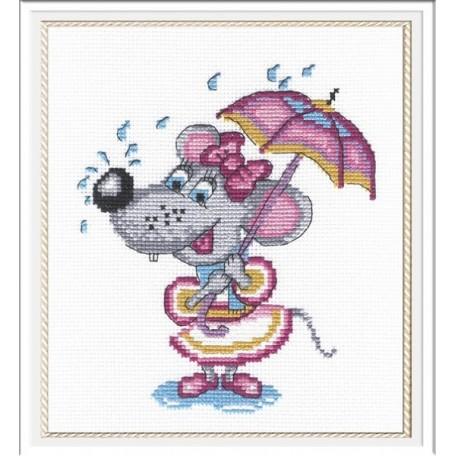Набор для вышивания 'МП Студия' арт.НВ-209 'Мышка с зонтиком' 20х18 см