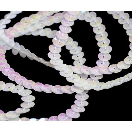 Пайетки на нитях 6мм Cream Colour арт.TBY-FLKU06-CC цв.0319 белый уп.73.12м