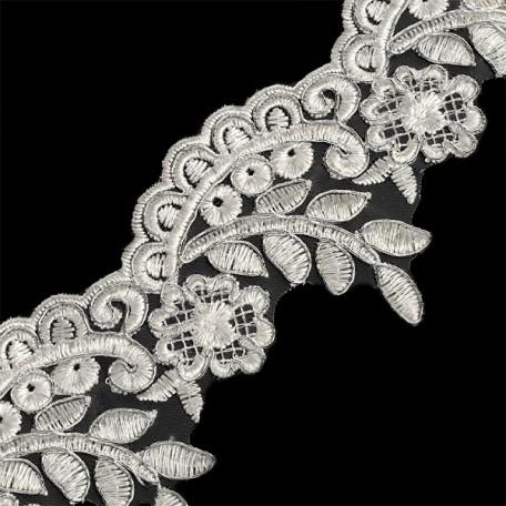 Кружево на органзе арт.TBY-1349 шир.75мм цв.белый/серебро