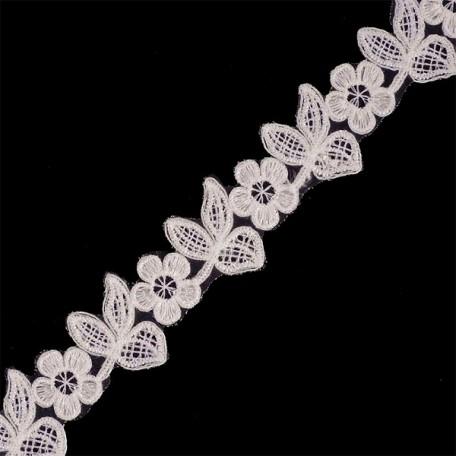 Кружево на органзе арт.TBY-Q015 шир.35мм цв.1 молочный уп.9,14м