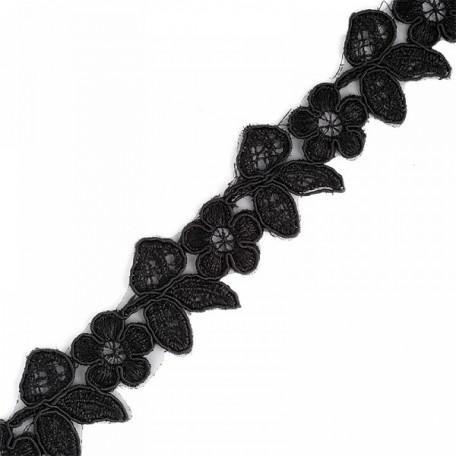 Кружево на органзе арт.TBY-Q015 шир.35мм цв.3 черный уп.9,14м