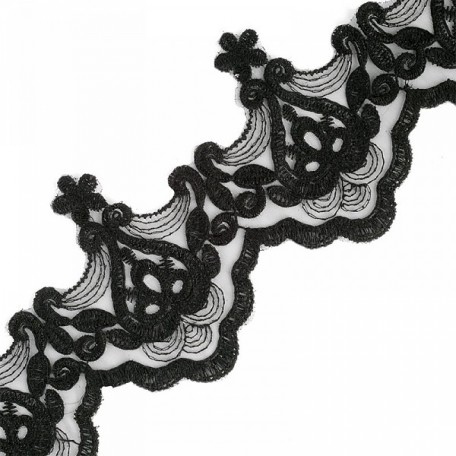 Кружево на органзе арт.TBY-Q024 шир.95мм цв.1 черный уп.9,14м