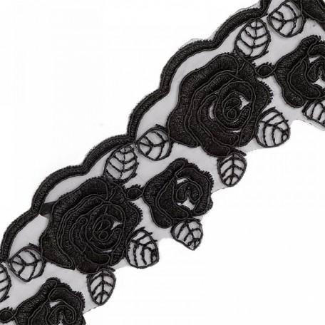 Кружево на органзе арт.TBY-Q026 шир.65мм цв.3 черный уп.9,14м