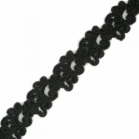 Кружево на органзе арт.TBY-Q061 шир.35мм цв.3 черный уп.9,14м