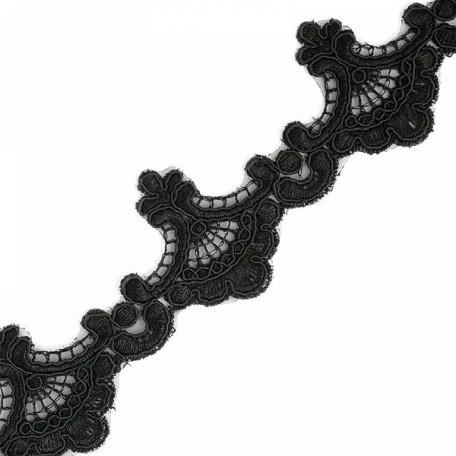 Кружево на органзе арт.TBY-Q073 шир.56мм цв.3 черный уп.9,14м