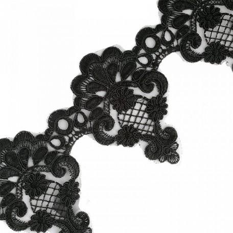 Кружево на органзе арт.TBY-Q139 шир.130мм цв.3 черный уп.9,14м