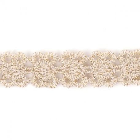 Кружево на органзе арт.TBY-W002 шир.10мм цв.бежевый уп.13,71м