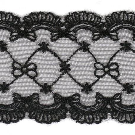Кружево на сетке арт.TBY-10058 шир.70мм цв.черный уп.13,71м