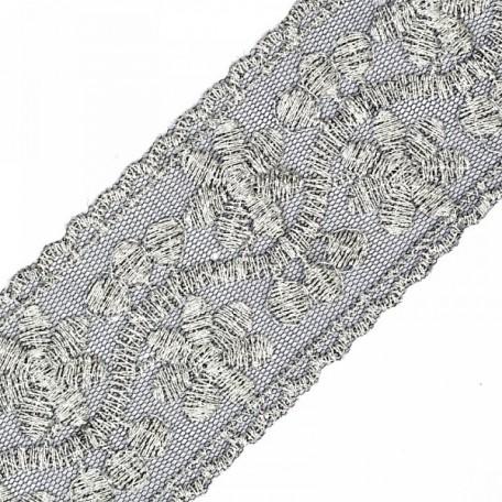 Кружево на сетке арт.TBY-10143A шир.60 мм цв.черный/серебро уп.13,71м