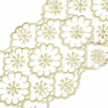 Кружево на сетке арт.TBY-10222 шир.120 мм цв.белый/золото уп.13,71м