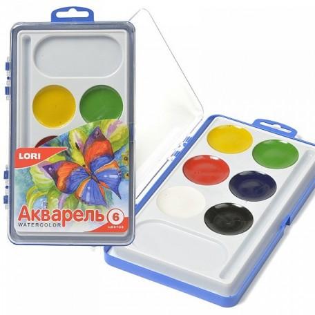 LORI АКВ-001 Акварельная краска в пласт.упак.(большая) 6 цв. б/к.