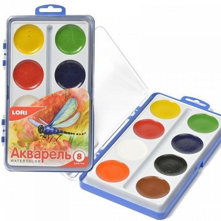 LORI АКВ-002 Акварельная краска в пласт.упак.(большая) 8 цв. б/к.