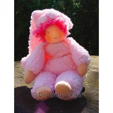 WIT.A49500 Набор для изготовления вальдорфской куклы DE WITTE ENGEL 'Пупс в розовом' h=23см