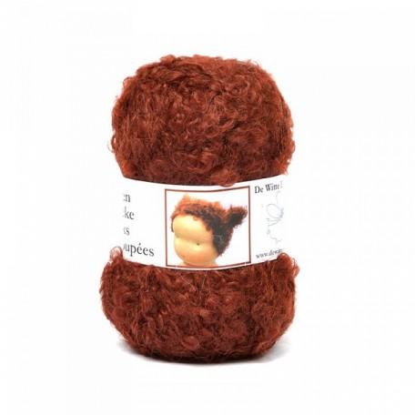 WIT.H04570 Кукольные волосы DE WITTE ENGEL 91% шерсть, 9% акрил, 50м/50г цв.бордовый