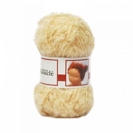 WIT.H04600 Кукольные волосы DE WITTE ENGEL 91% шерсть, 9% акрил, 50м/50г цв.золотая блондинка