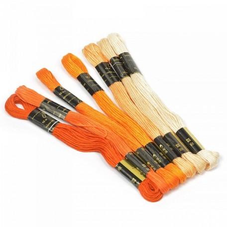 Нитки мулине 'Цветик-семицветик' 10м арт. ПНК набор 7 мотков №2-оранжевый лепесток