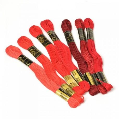 Нитки мулине 'Цветик-семицветик' 10м арт. ПНК набор 7 мотков №3-красный лепесток