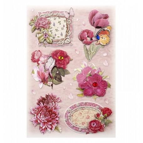 3D Стикеры арт.DJS-604B цветы