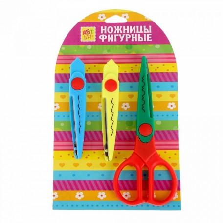 СЛ.459557 Набор съемных рельефных ножниц для скрапбукинга 17 см уп.3шт