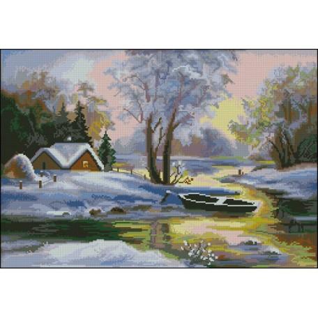 Канва с рисунком 'НОВА СЛОБОДА' арт.МАХ.ММ-3048 'Лодка в снегу'
