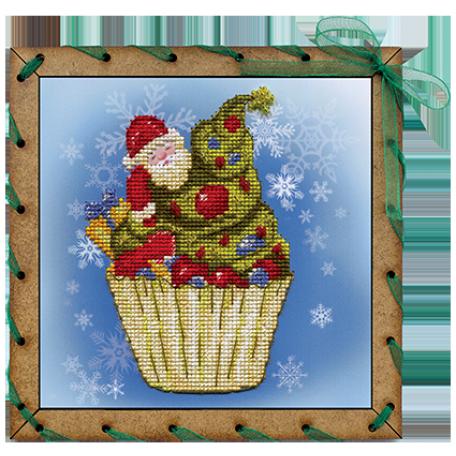 Наборы для вышивания 'НОВА СЛОБОДА' арт.ОР 7508 'Рождественское пирожное' 15х15 см