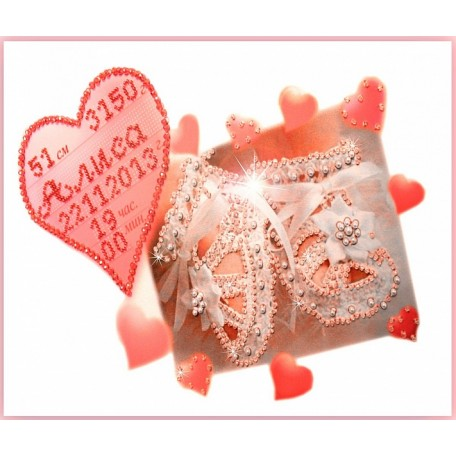Набор для вышивания хрустальными бусинами ОБРАЗА В КАМЕНЬЯХ арт. 5507 'Метрика для девочки' с алфавитом 32х22 см