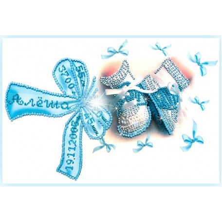 Набор для вышивания хрустальными бусинами ОБРАЗА В КАМЕНЬЯХ арт. 5508 'Метрика для мальчика' с алфавитом 37х26 см